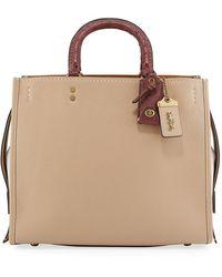COACH Rogue Colorblock Satchel Bag With Ostrich Trim - Natural