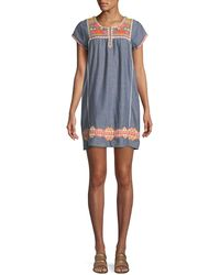 Letarte - Embroidered Short-sleeve Tunic Dress Coverup - Lyst
