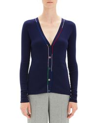 Theory - Embroidered V-neck Wool Cardigan - Lyst