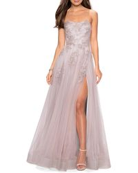 La Femme Strapless Tulle Gown With Floral Appliques & High Skirt Slit - Pink