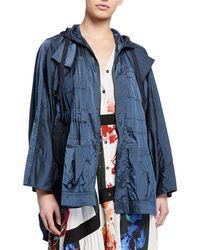 Palmer//Harding Brooke Draped-back Hooded Short Coat - Blue