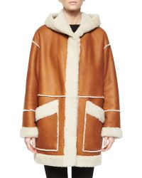 Goes Hooded Leather Coat W/ Shearling Fur Trim - Brown