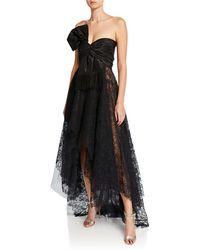 Oscar de la Renta Strapless Tie-front Taffeta And Lace Gown - Black