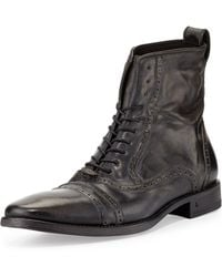 John Varvatos - Brogue Leather Lace-up Boot - Lyst