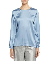 Eileen Fisher Ruched-cuff Silk Charmeuse Blouse - Blue
