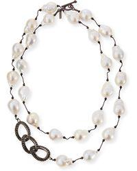 Margo Morrison   Baroque Pearl & Black Spinel Link Necklace   Lyst