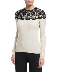 Naeem Khan   Embellished-yoke Cashmere Sweater   Lyst