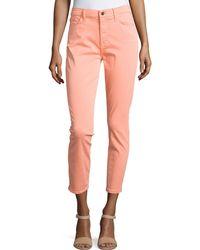 Jen7 Sateen Skinny Cropped Jeans - Pink
