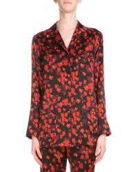 Givenchy Button-front Floral-print Pajama Top - Red