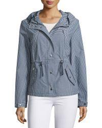 Michael Kors Check Hooded Nylon Anorak Jacket - Blue