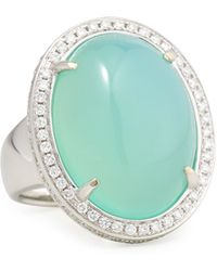 Rina Limor - Oval Aqua Chalcedony Cabochon Ring With Diamonds - Lyst