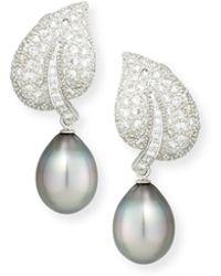 Assael - 18k Tahitian Pearl & Diamond Leaf Drop Clip Earrings - Lyst