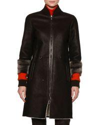 Callens - Three-Quarter Length Sleeved Shearling Fur Bomber Coat - Lyst