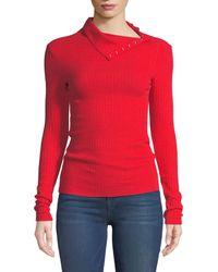 Enza Costa - Ribbed Split-collar Long-sleeve Sweater - Lyst