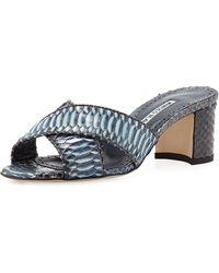 9e9ea1dc2764 Lyst - Manolo Blahnik Khanstrap Suede Chunky-heel Sandal in Brown