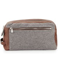 Brunello Cucinelli - Leather & Wool-cashmere Travel Toiletry Bag - Lyst