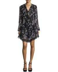 N Nicholas - Lace-inset Floral-print Georgette Surplice Dress - Lyst