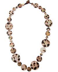 Viktoria Hayman - Long Shell Disc Necklace In Leopard - Lyst