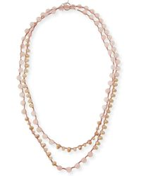 An Old Soul - Rose Quartz & Crystal Crocheted Necklace - Lyst