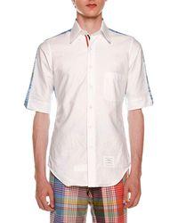 Thom Browne - Bicolor Short-sleeve Shirt - Lyst