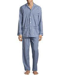 Neiman Marcus - Gingham-print Cotton Pajama Set - Lyst