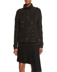 Thierry Mugler - Pierced Chunky Knit Turtleneck Sweater - Lyst