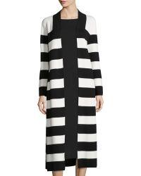 Joan Vass - Striped Cotton Milano Long Coat - Lyst