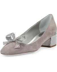 Rene Caovilla Crystal Bow 30mm Chunky-heel Pump - Gray