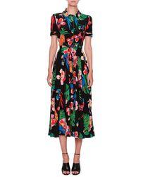 Valentino Tropical Dream Short-sleeve Midi Shirtdress - Black