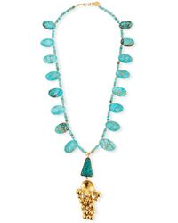 "Devon Leigh Turquoise Ball Cluster Pendant Necklace, 32"" - Metallic"
