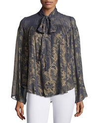 Tryb - Lindsey Metallic Floral-print Georgette Blouse - Lyst