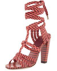 42409d20348 Jimmy Choo - Trix 100mm Woven Ankle-wrap Sandal - Lyst