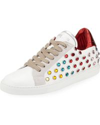 Zadig & Voltaire - Leather And Strass Hidden-wedge Low-top Sneakers - Lyst