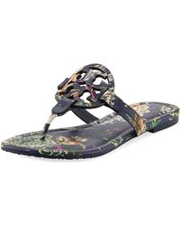 db0f184b6255 Tory Burch - Miller Medallion Floral-print Leather Flat Thong Sandals - Lyst