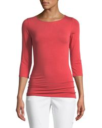 Neiman Marcus - 3/4-sleeve Soft-touch Top - Lyst
