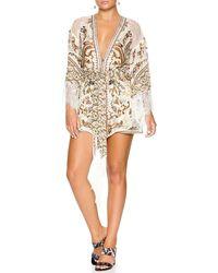 Camilla Printed Silk Kimono W/ Lace - Natural