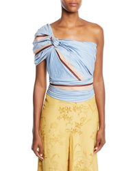 Johanna Ortiz - Bahanias One-shoulder Maldives-stripe Print Fitted Ruched Top - Lyst