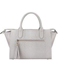 Gigi New York Grace Python-print Satchel Bag - Blue
