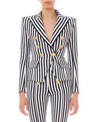 Balmain Striped Double Breasted Blazer - Blue
