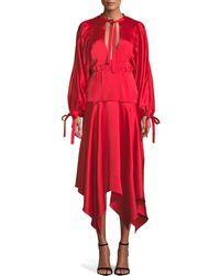Self-Portrait - Keyhole Satin Midi Dress - Lyst