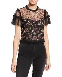 Needle & Thread - Carnation Sequined Tulle Cropped Blouse - Lyst