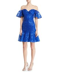 Tadashi Shoji - Off-the-shoulder Illusion Ruffle Sequined Dress - Lyst