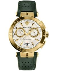 Versace - Aion Chronograph Watch With Green Leather Strap - Lyst