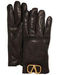 Valentino Vlogo Leather Gloves W/ Cashmere Lining - Black