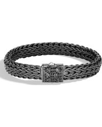 John Hardy - Men's Classic Chain Rhodium-plated Bracelet With Black Sapphire - Lyst
