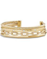 David Yurman - Stax 18k Gold Four-row Cuff Bracelet, Size L - Lyst