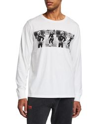 Ovadia And Sons Men's Bob Marley Playing Soccer Long-sleeve T-shirt - White