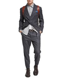 Brunello Cucinelli - Flannel Wool-silk-cashmere Double-breasted Two-piece Suit - Lyst