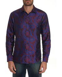 Robert Graham Men's Paisley Park Patterned Sport Shirt With Contrast Detail - Blue