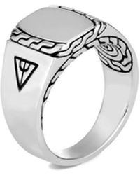 John Hardy Classic Chain Signet Ring - Metallic